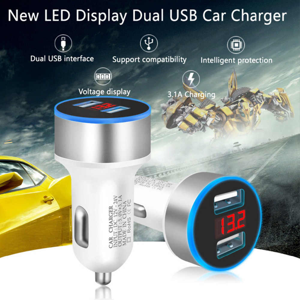 3.1A 12V-24V Dual USB Car Charger LED Display Quick Charge  Moblie Phone Fast Charging Car Charger for LED Display