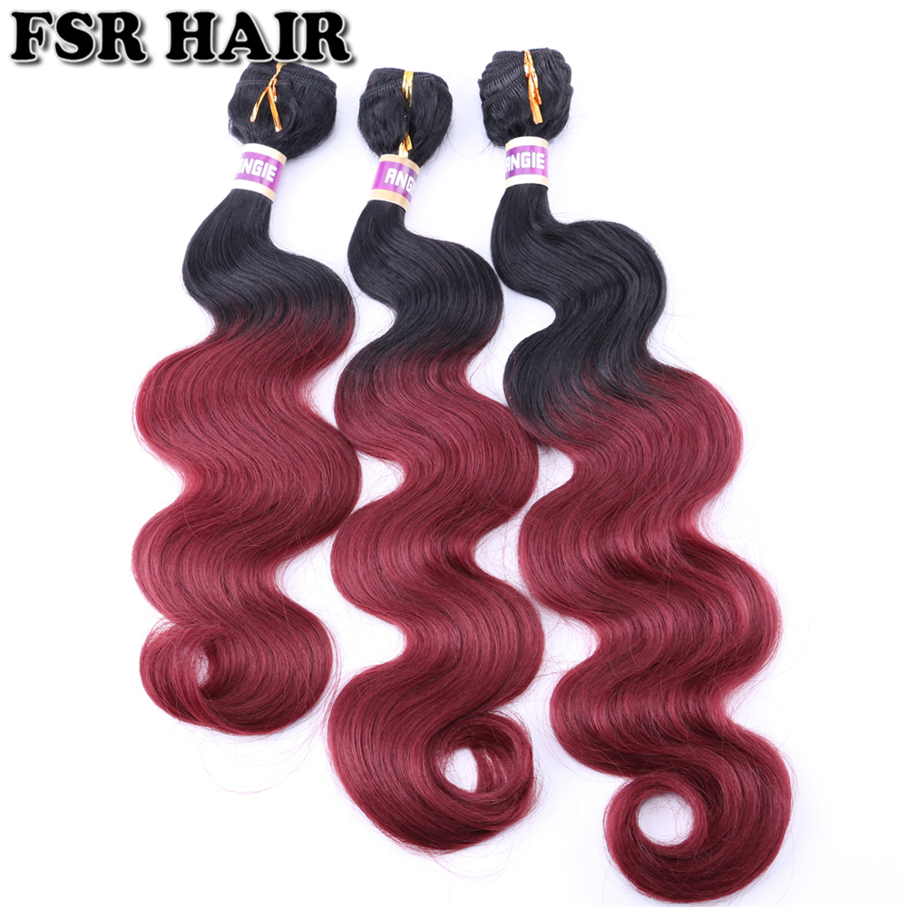 FSR Ombre Hair Bundles Body Wave Hair Bundles 16-20 Inch 3 Pieces One Lot Synthetic Hair Weave Sew In Hair Extensions