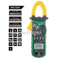 MASTECH MS2208 гармоник измеритель мощности с зажимом ваттметр TRMS кВА Kvar Pf AC Напряжение ток Мощность фазы тестер угла счетчик энергии