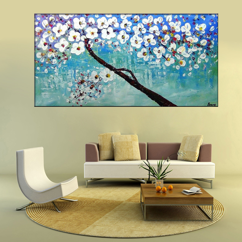 Unframed Hand Painted Blue White Cherry Blossom Tree and Flower ...