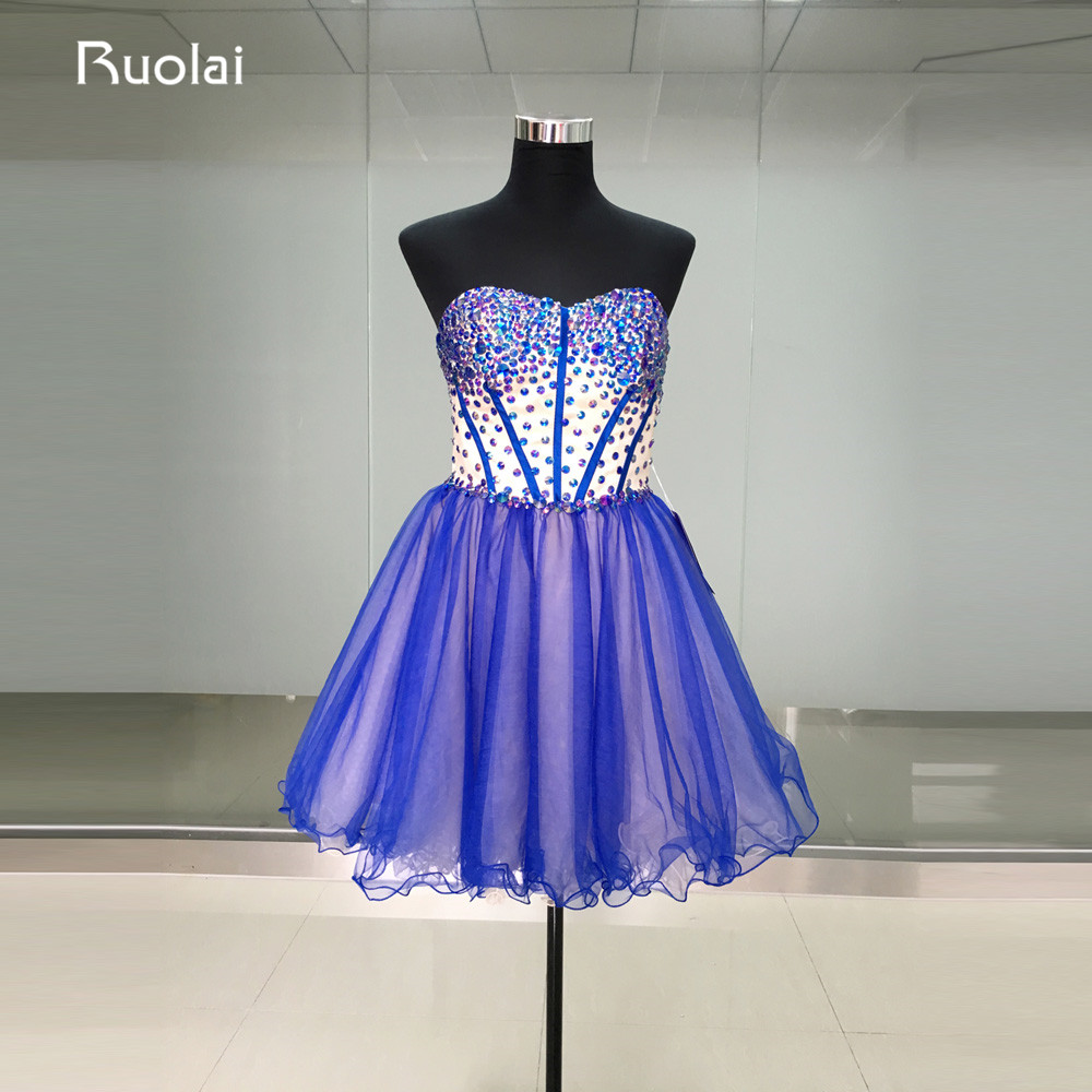 Real Picture Top Crystal Sweetheart A-Line Mini Skirt Short   Prom     Dresses   2019 Tulle Lace Up Back Cocktail   Dress   Party Gown FP11