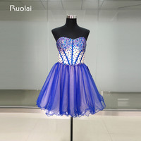Real Picture Top Crystal Sweetheart A Line Mini Skirt Short Prom Dresses 2017 Tulle Lace Up Back Cocktail Dress Party Gown FP11