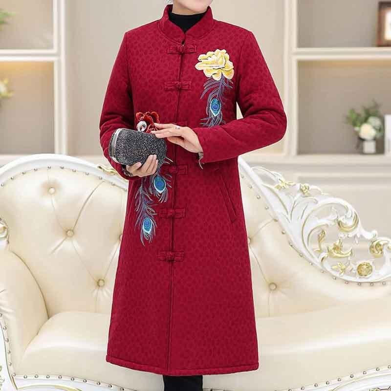 Long Noir bourgogne Style vert Vieille National Femme rouge Mince Brodé Manteau Printemps Pa713 Top Costume Et Automne Tang q1xwFBq