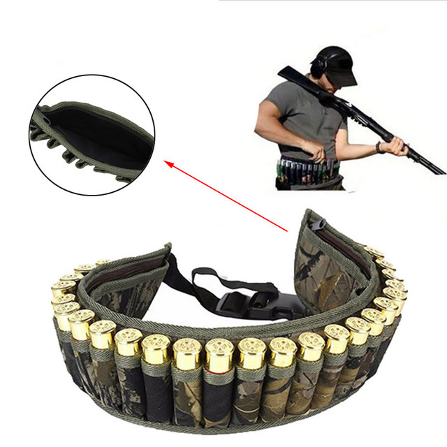 Military 28 Round Tactical Shotgun Shell Buckle Belt Holder Waist 12GA Ammo Pouch Camo Bullet Strap with Inner Zipper Pocket 3