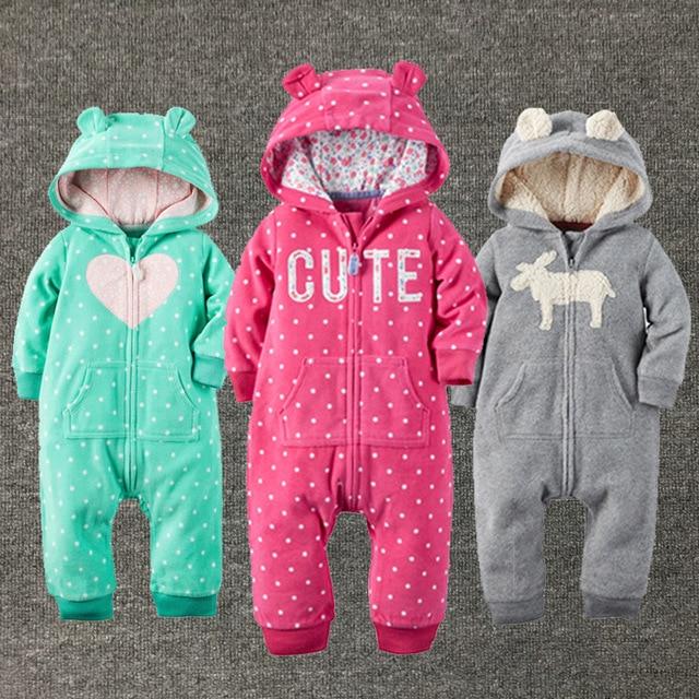 Новорожденных девочек одежда зима плюшевый комбинезон мода Марка Капюшоном новорожденный ребенок Мальчик в Девочке одежда тела bebe одежда комбинезон