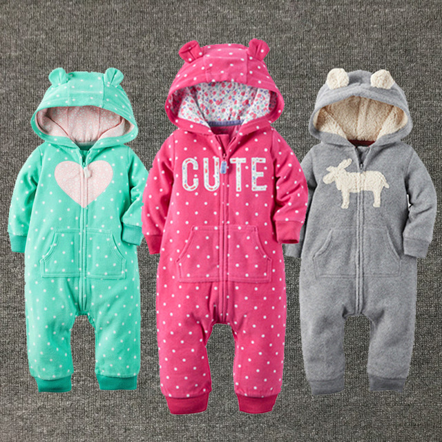 Baby girls clothes winter plush jumpsuit fashion Brand  Hooded newborn baby Boy Girl clothes body bebe clothing rompers