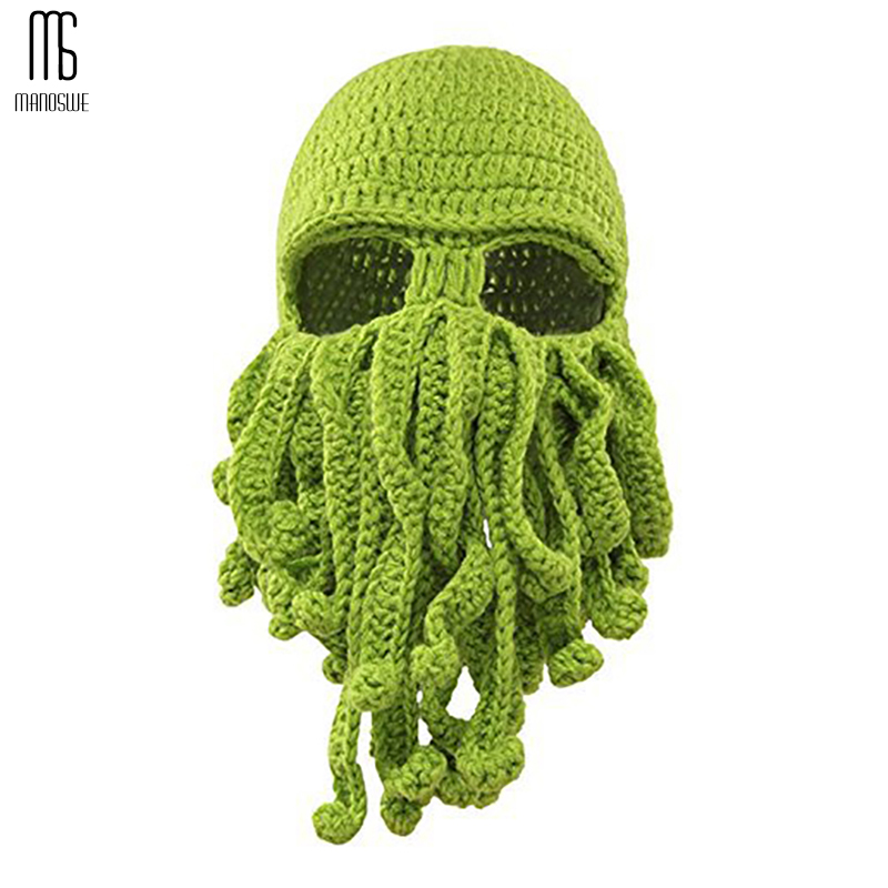 Winter Face Mask Hand Woven Mask Snowboard Octopus Wool Balaclava Funny Hat Warm Bonnet Homme Cap Face Mask Winter Casual Cap