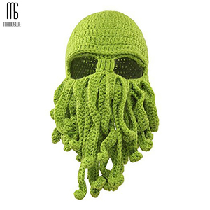 Image 1 - Winter face mask hand woven mask snowboard octopus wool balaclava funny hat warm bonnet homme cap face mask winter casual cap