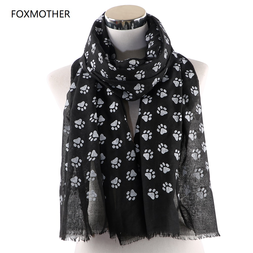 FOXMOTHER New Fashion Cat Dog Paw Scarfs Black Navy Color Wrap Shawls Dog Cat Lover Pet Lover Mom Gifts Dog Scarves 2019