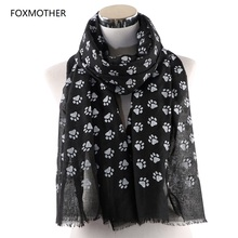 FOXMOTHER New Fashion Cat Dog Paw Scarfs Black Navy Color Wrap Shawls Lover Pet Mom Gifts Scarves 2019