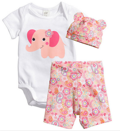 Cotton Baby Rompers Infant, Jumpsuit 3Pcs/set short sleeve romper+shorts+cap Summer Newborn Bebe Girl Boy O-Neck Clothing cotton baby rompers infant toddler jumpsuit lace collar short sleeve baby girl clothing newborn bebe overall clothes h3