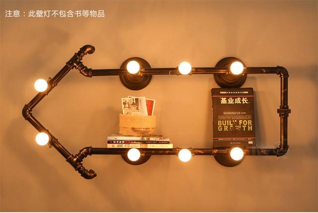 Loft creative pipe lampe vintage industriel applique murale art