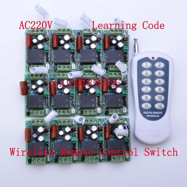 220V 12CH Radio Wireless Remote Control Switch light lamp LED ON OFF 12 Receiver &1 transmitter Learning Code Output Adjusted remote control switch led light lamp remote on off system ac85v ac260v 100v 110v 240v 230v 127v learning code receiver 315 433