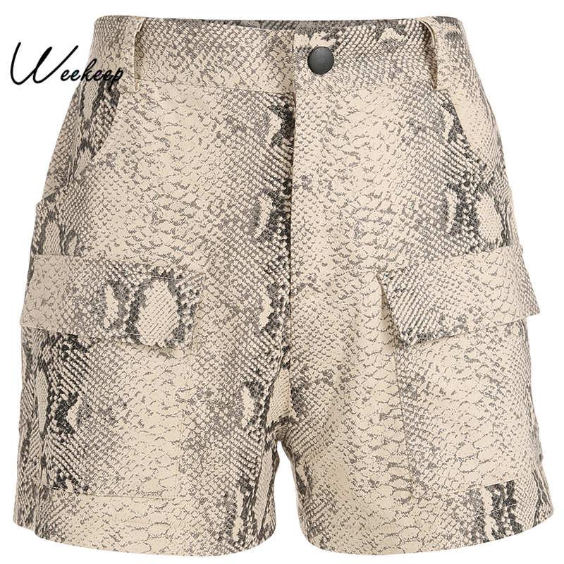 Weekeep Shorts Women Snake-Print Patchwork Elastic Streetwear Feminino High-Waist Summer