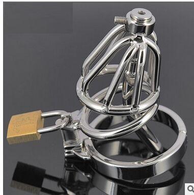 ФОТО 38cm long  steel cage chastity with catheter  stainless steel  chastity  urethral  sounds dilator, sounds,catheters,Sex Products