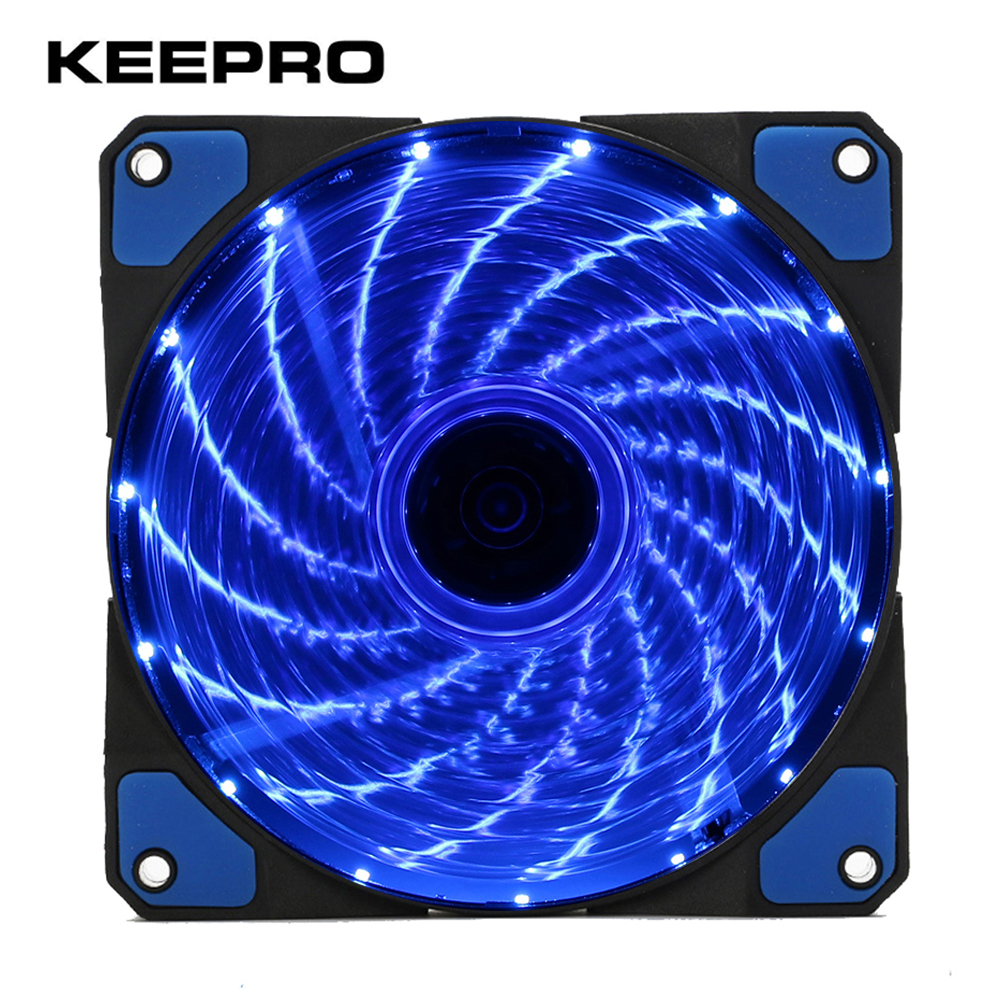 KEEPRO Original 15 Lights LED Cooling Fan PC Computer Chassis Fan Case Heatsink Cooler DC 12V 4P 3P Red Green White Blue 120mm 80mm dc brushless pc chassis cooling fan