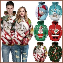 Couple Christmas 3D Print Loose Casual Pullover Hoodie Hooded Long Sleeve Hip Hop Streetwear Men for Man