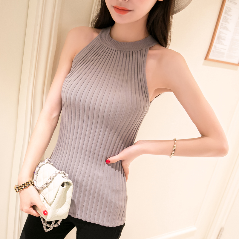 Women Spring Summer Sweater tanks sleeveless Knitted Camis Slim Halter Neck Sexy Strapless 2