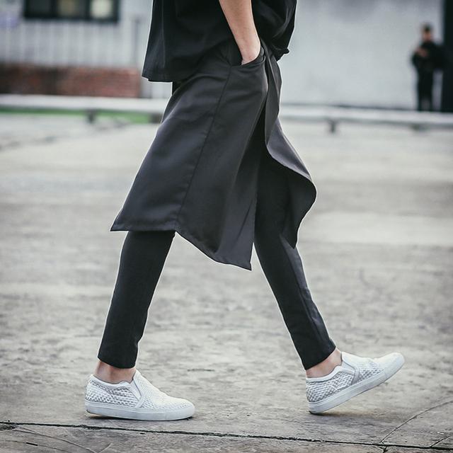 27-44 jardas calças personalidade Masculina novidade dos homens não-mainstream roupas masculinas djds calças falso dois peça legging masculino