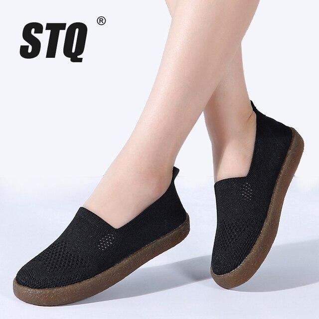 حذاء رياضي نسائي خريفي من STQ موضة 2020 حذاء نسائي مسطح يسمح بالتهوية حذاء باليه مسطح سهل اللبس للنساء موديل 3399