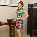 Women Elegance Chinese Traditional Dress Short Summer Satin Cheongsam Flower Printed Sale Vestidos Chinos Qipao Dress 18