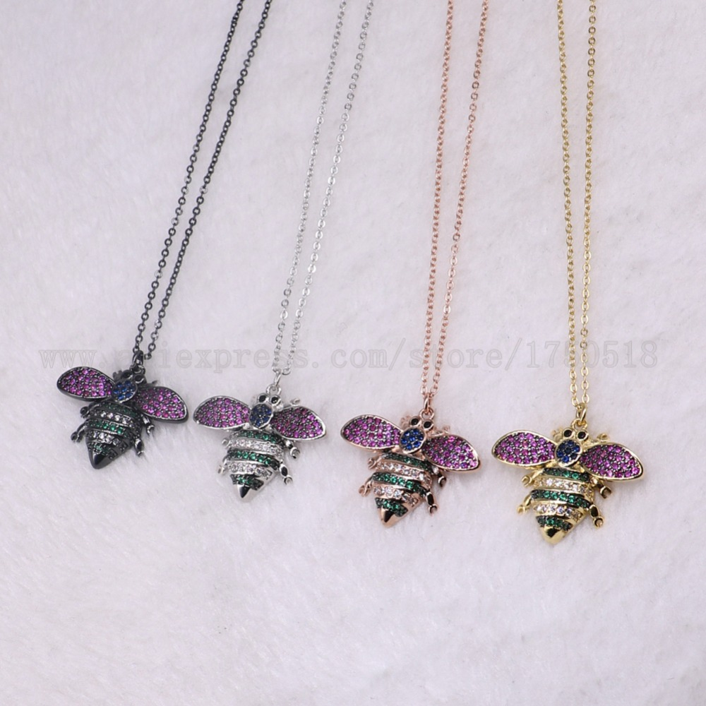5 strands bugs necklace fly insects for lady Bee pendants small size jewelry 18 mix color necklace pets beads 3217