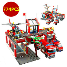 774pcs/set City Fire Station Truck Helicopter Firefighter Minifigure Building Blocks Bricks Toys Lxgo Compatible