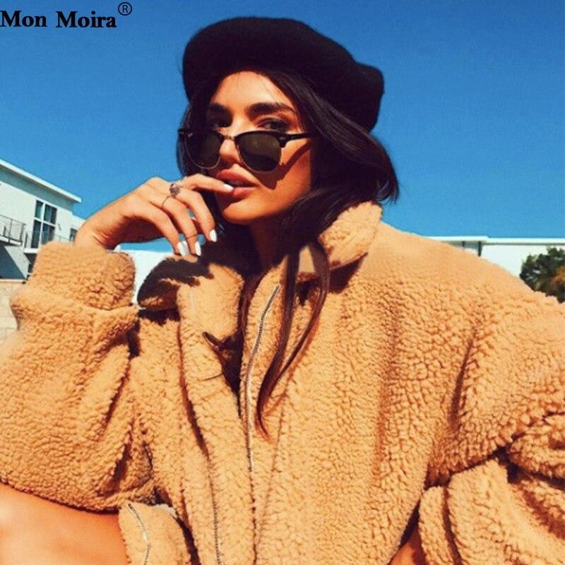Fausse Hiver Vestes Femmes Surdimensionné Et Rouge Suis Streetwear noir Marque Solide Fourrure 2018 Je 5 Gia Teddy camel Cwf0040 Manteaux 8wpqxOB4