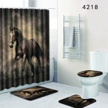 Homemiyn Bath Mat Horse Bathroom Decoration 4 Pcs Rugs Mats Anti Slip Shower Curtain With