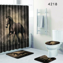 Homemiyn New Bath Mat Horse 4 Pieces Bathroom Decor 50x80cm Rugs Anti Slip Waterproof Shower Curtain 12 Hooks