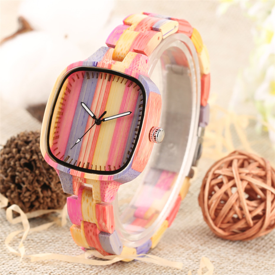 Female Wristwatches Rainbow-Color Quartz Luxury Display Analog Unique