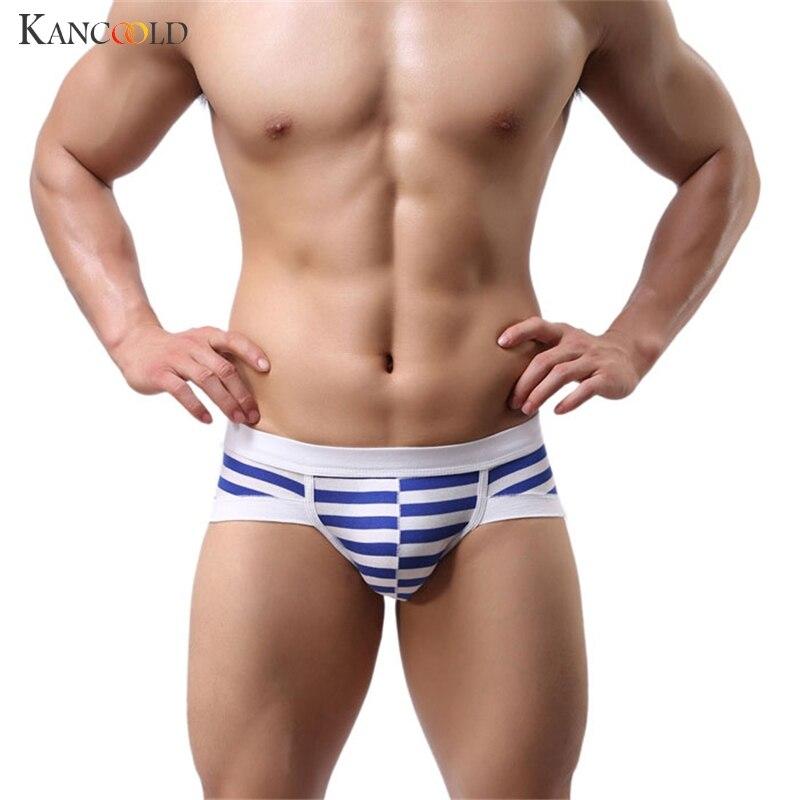 Casual Men's Underwear  Stripe Cotton U Bulge Design Man's Shorts Soft Breathable Briefs Male Underpants Panties Hot Jan13