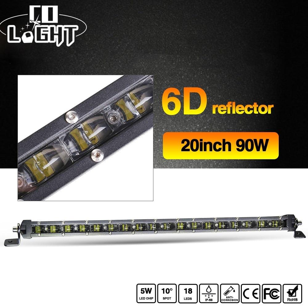 CO LIGHT 90W Slim 20 Inch Car Front Lights Spotlight Flood Combo Beam 6D 6000K 9000Lm