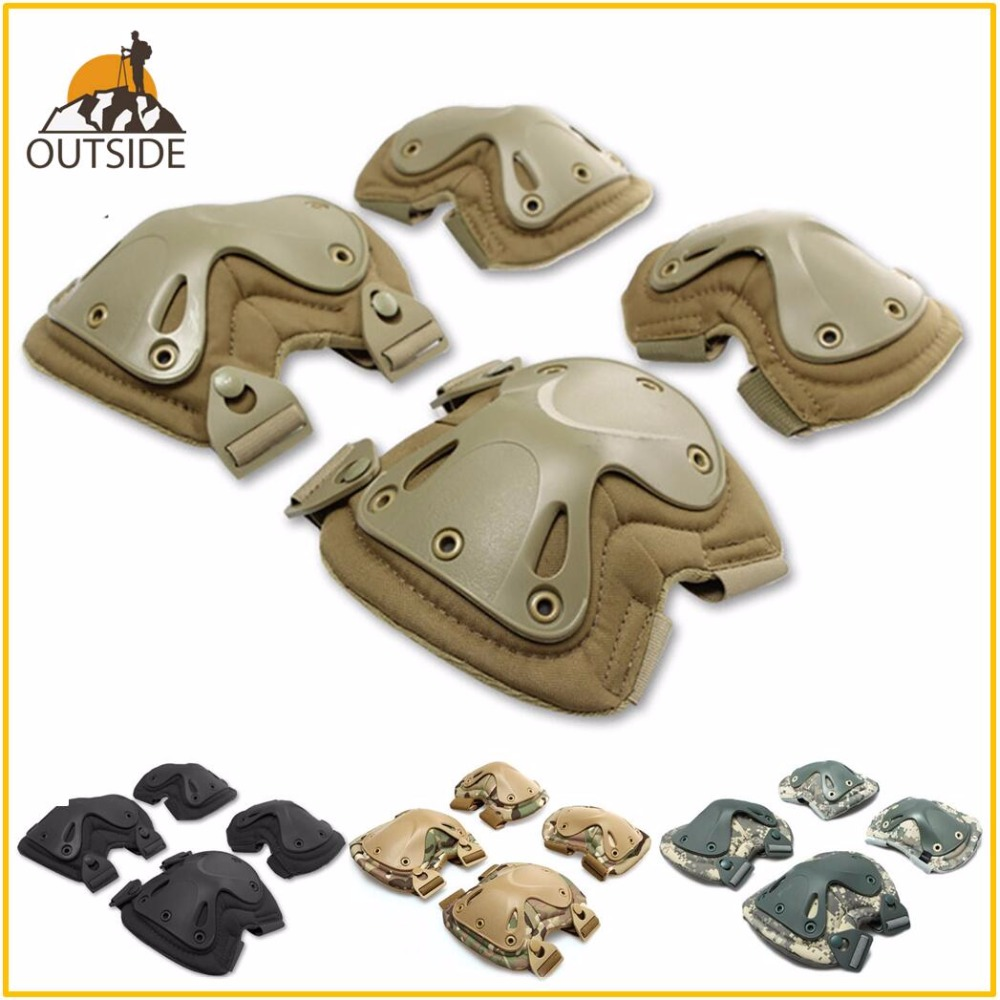4 PCS Tactical Paintball Accessories Protection Knee Pads & Elbow Pads Set For Outdoor Climbing Skating Training Elbow Kneecap