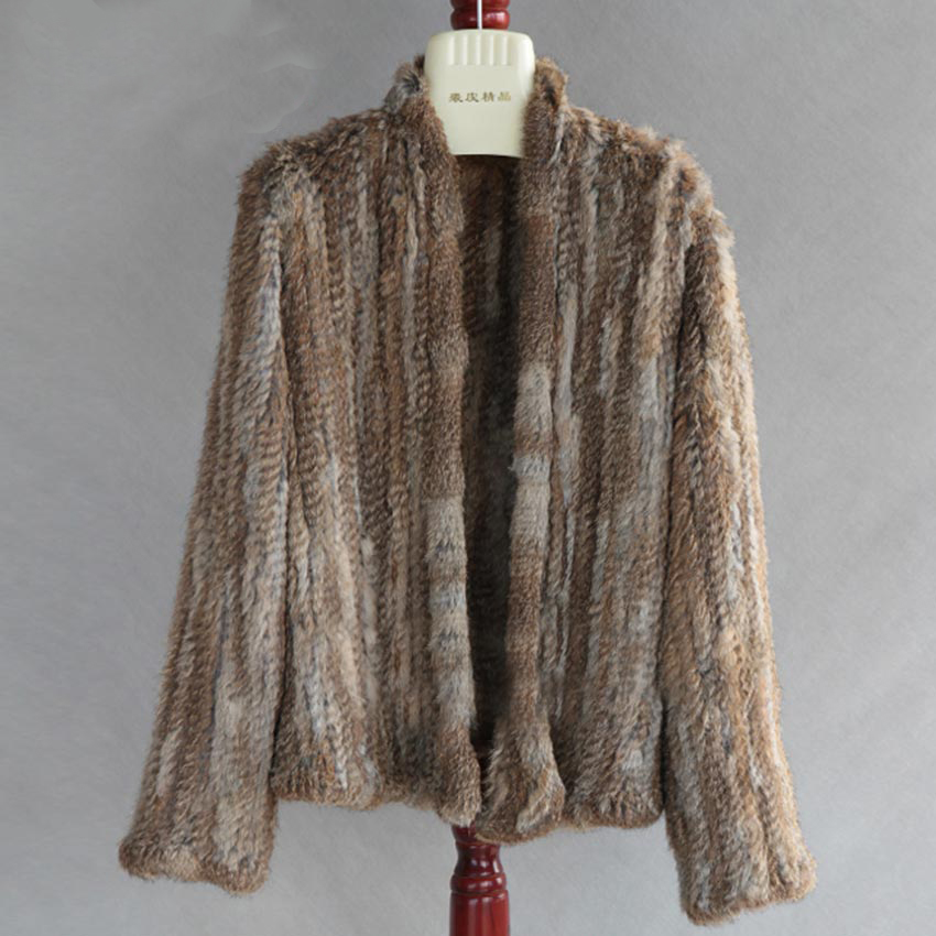 New X-Long Real Rabbit Fur Coat Thick Knitted Overcoat Turtleneck Collar Jacket