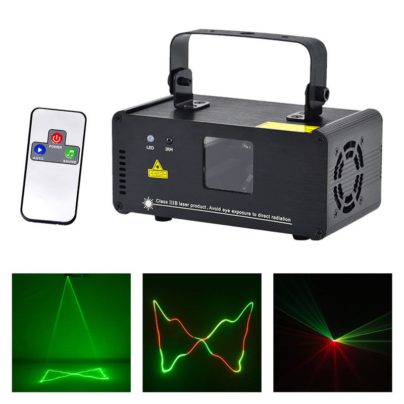 AUCD Mini 200mW Rouge Vert Mix Jaune Télécommande Sans Fil Projecteur Laser Lights DMX DJ Dance Party Spectacle Éclairage De Scène DMRGY