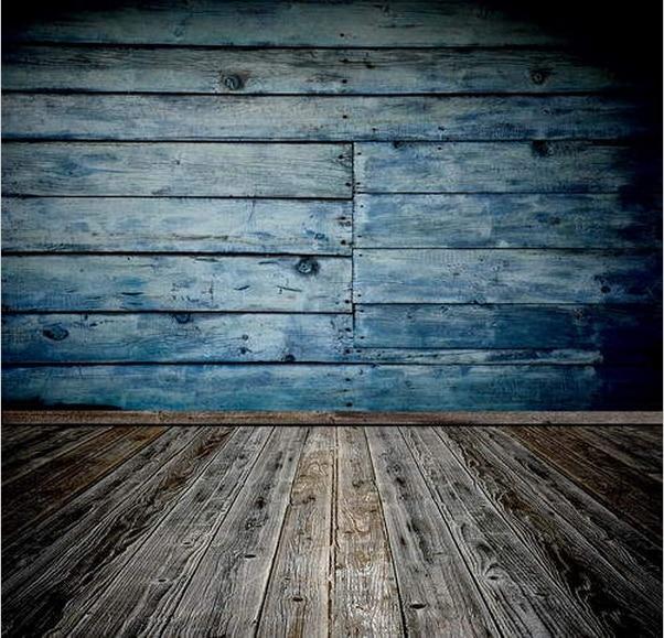 8x12ft Light Sky Blue Wooden Planks Dark Wood Floor Custom