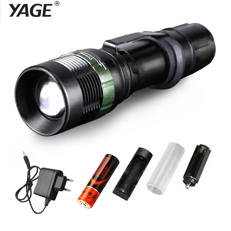 YAGE YG-338C 2000LM Aluminum Waterproof Zoom CREE LED Clip Flashlight Torch Light for 18650 Rechargeable Battery Inside or AAA retractable led white light zoom headlight black 3 x aaa or 18650 lithium battery