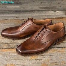 QYFCIOUFU Fashion Genuine Calf Leather Men formal shoes Handmade Wedding Office Dress Derby Shoes Luxury oxford for men