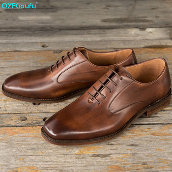 QYFCIOUFU Fashion Genuine Calf Leather Men formal shoes Handmade Wedding Office Dress Derby Shoes Luxury oxford shoes for men