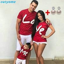 Семейные комплекты женская футболка с короткими рукавами для мамы и дочки, папы и сына, с надписью «Love Me»
