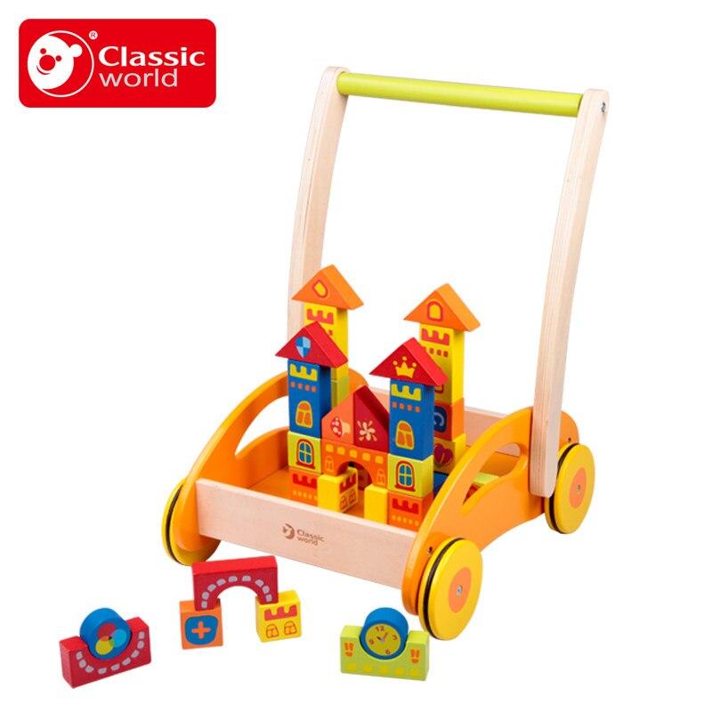 Классические игрушки деревянные четыре колеса блоки ребенка толчок Уокер Многофункциональный Side двойной шаг 7 до 18 месяцев автомобиля детс