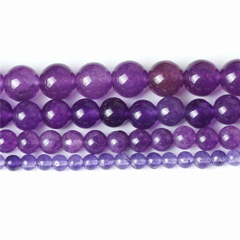 Charms ลูกปัดธรรมชาติสีม่วง Amethyst หยกลูกปัด 4/6/8/10 มิลลิเมตรลูกอัญมณีคริสตัลหินสำหรับผู้หญิงของขวัญเครื่องประดับ