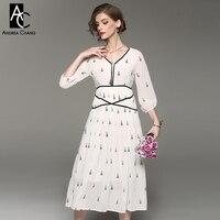 Spring Summer Woman Dress Black Flower Embroidery White Dress Ball Gown V Neck Empire Waist Fashion