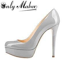 ФОТО onlymaker platform pumps shoes women's sexy stiletto shoes 16cm high heel solid colour wedding shoes plus size 13 spike shoes