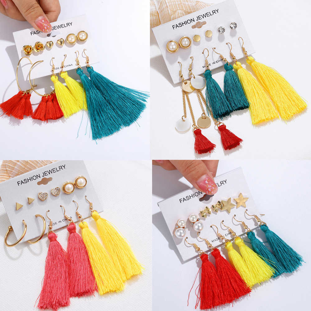 Mixstyle Women Girls Long Tassel Earrings Set 2019 Bohemian Blue Yellow Fringe Stud Earrings Crown Geometric Heart Pearl Brincos