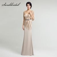 Luxury Beaded Pearls with Long Sleeve Sheath Mother of the Bride Dresses 2018 Elegant Women Chiffon Evening Party Gowns LX277
