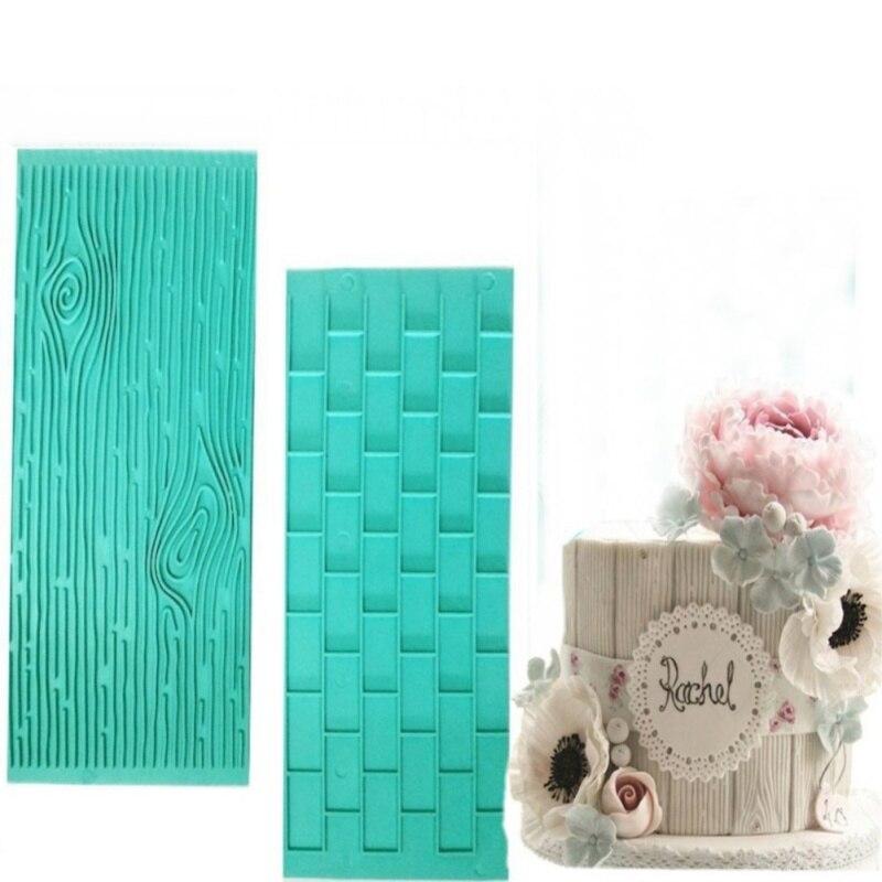 2pcs/set Texture Silicone Mold Of Tree Bark + Brick Wall Silicone Mat Fondant Sugar cut flower molding decoration, DIY baking es