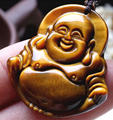 Natural Tiger's Eye Gem Hand Carved Buddha Pendant + free Necklace Gold Lucky Amulet Pendant Fine Jewelry Wholesales