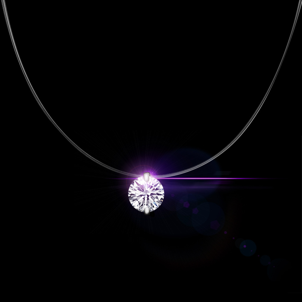 QCOOLJLY Silver Color Dazzling Zircon Necklace And Invisible Transparent Fishing Line Simple Pendant Necklace Jewelry For Women image